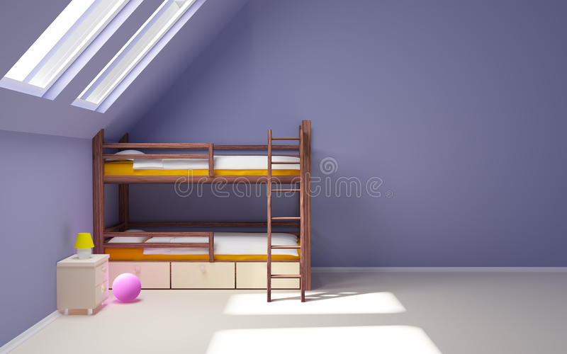 Child room on attic. Child room with a two-tier bed in the attic, empty wall