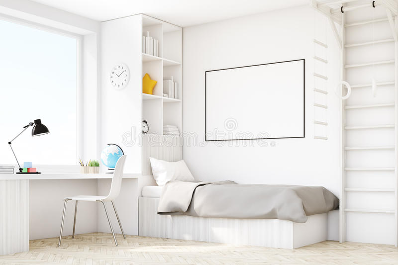 Child room with a bed and a table, corner vector illustration