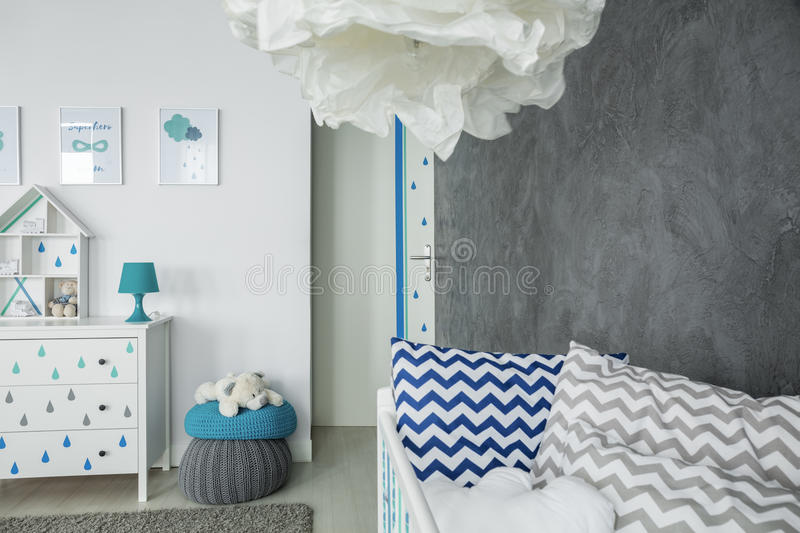 Child room with concrete wall stock photos