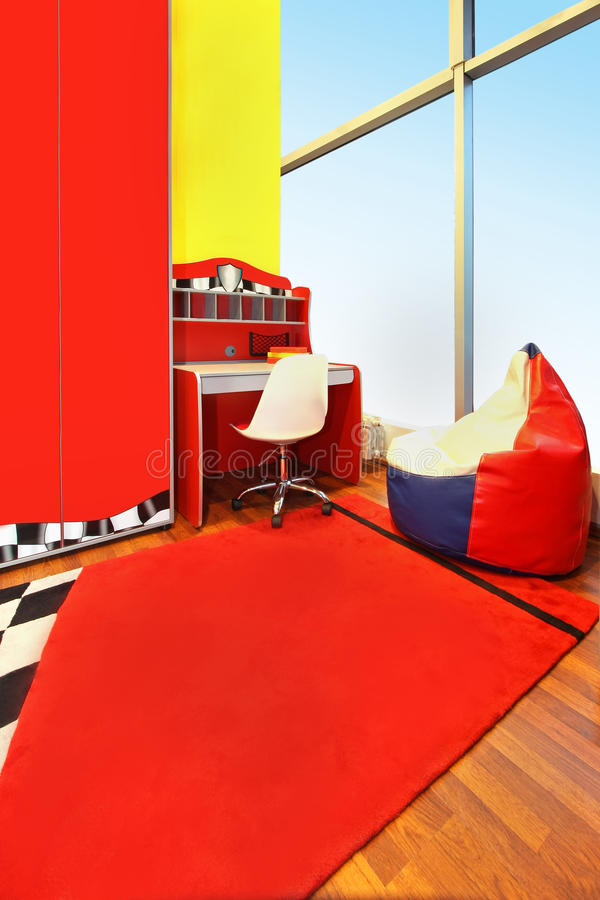 Child room interior red stock image