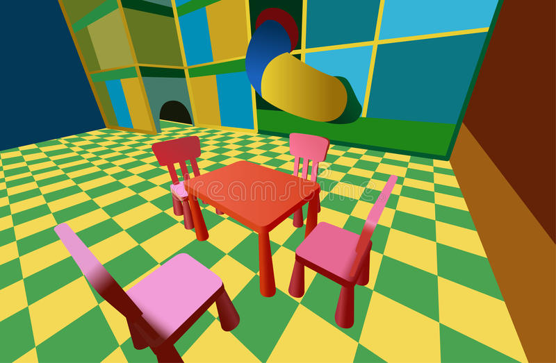 Child room with labyrinth and table with chairs royalty free illustration