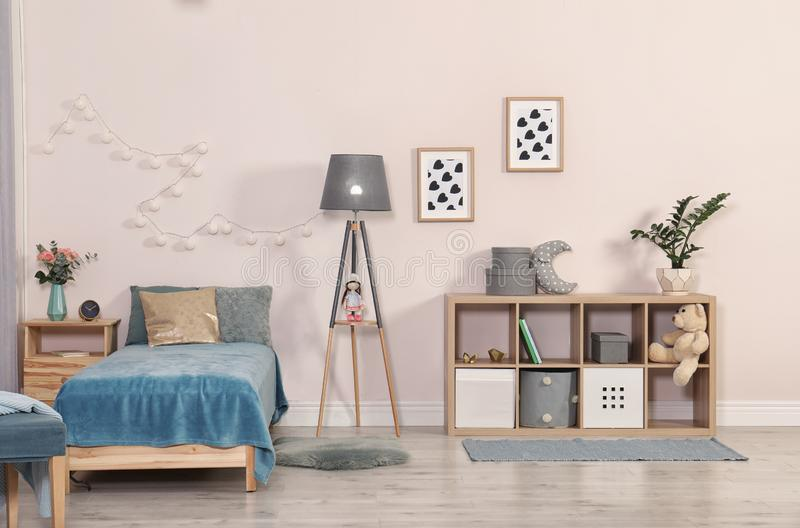 Child room with modern furniture. royalty free stock photo