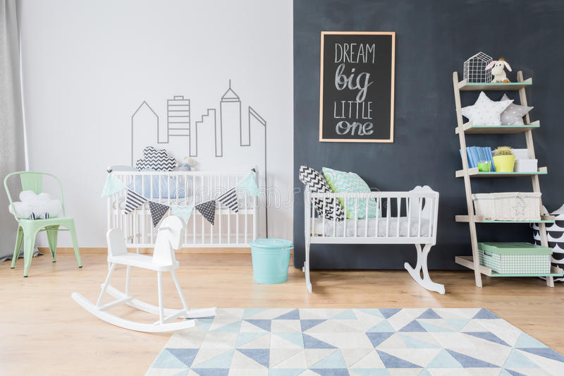 Child room in scandi style royalty free stock photo