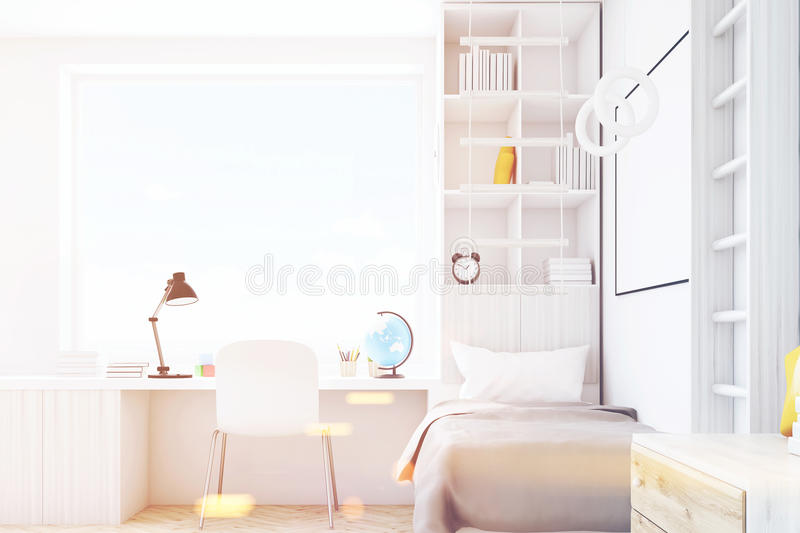 Child room with square window, toned stock illustration