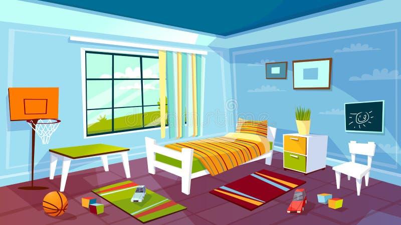 Child room vector cartoon illustration of kid boy bedroom interior furniture and toys background vector illustration