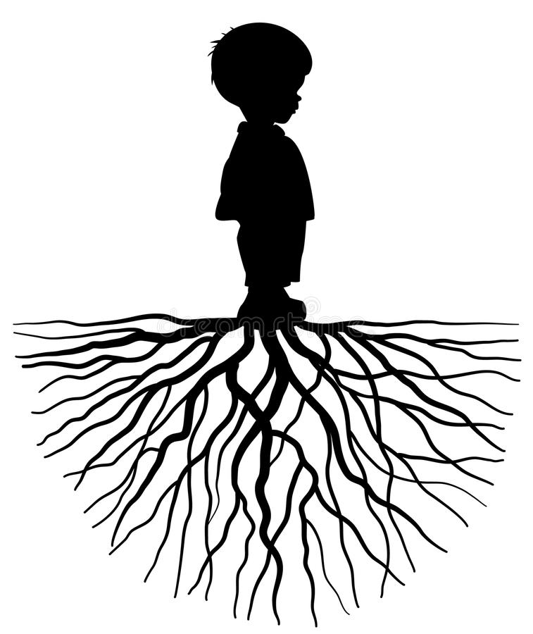 Child with root. The silhouette of a child with root stock illustration