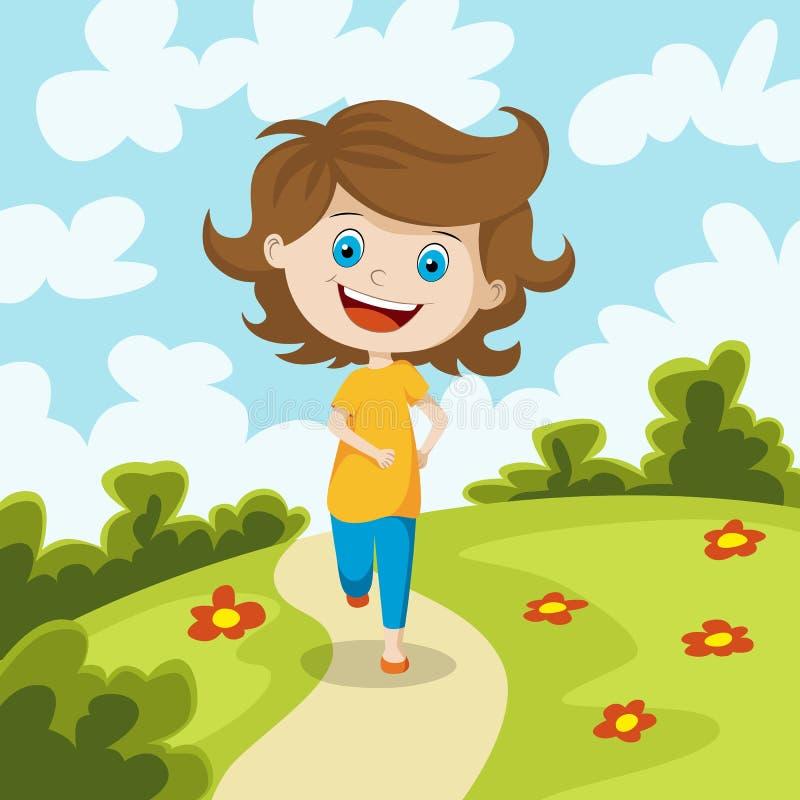 Child running through a meadow. Illustration stock illustration
