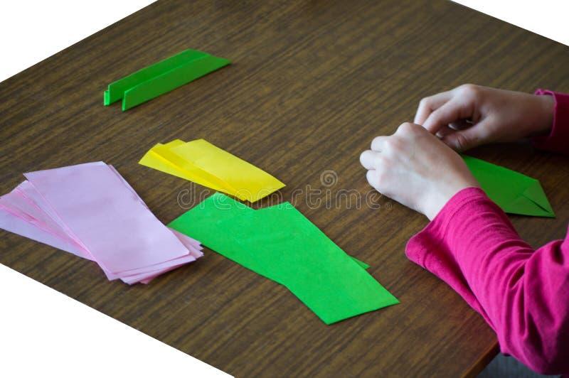 Making origami - pink lotos! royalty free stock image