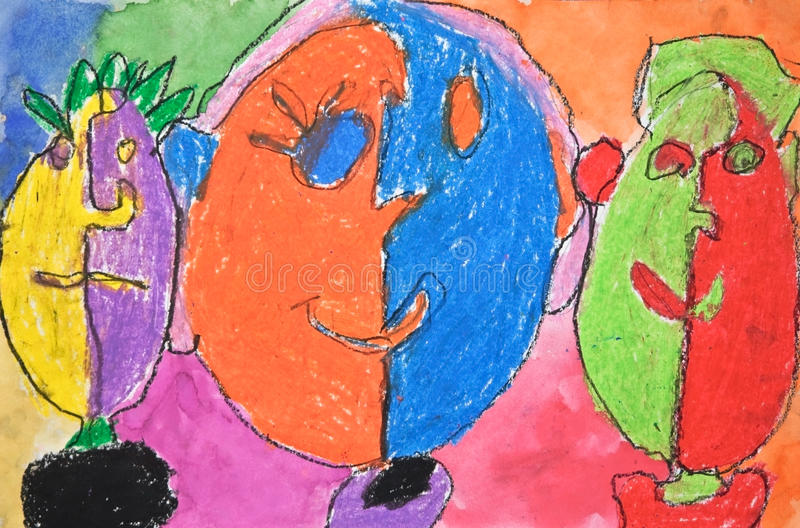 Child's Artwork of Faces royalty free stock photography