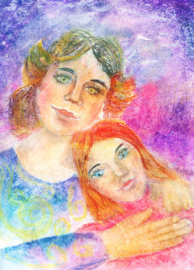 Child's Artwork - Portrait of a mother with daughter royalty free illustration