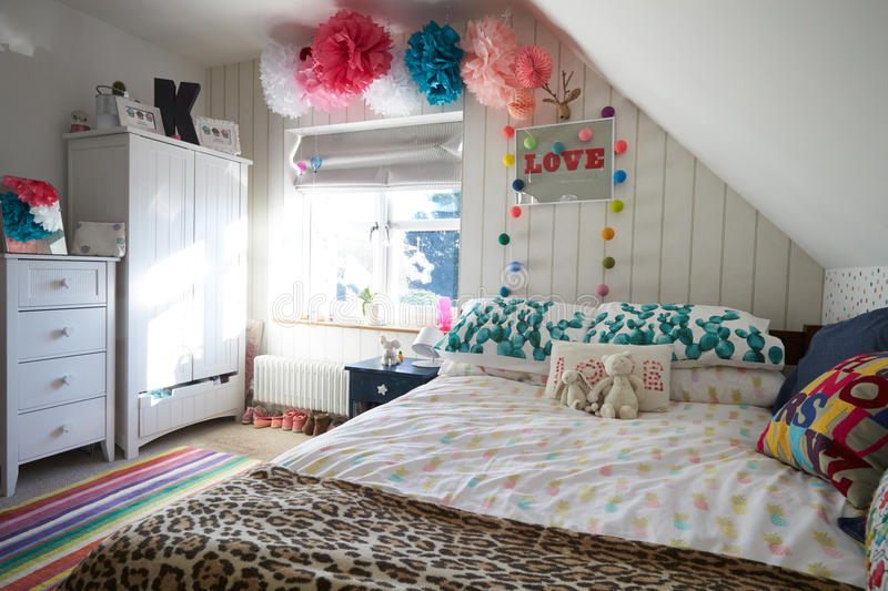 Child's Bedroom In Contemporary Family Home stock photos