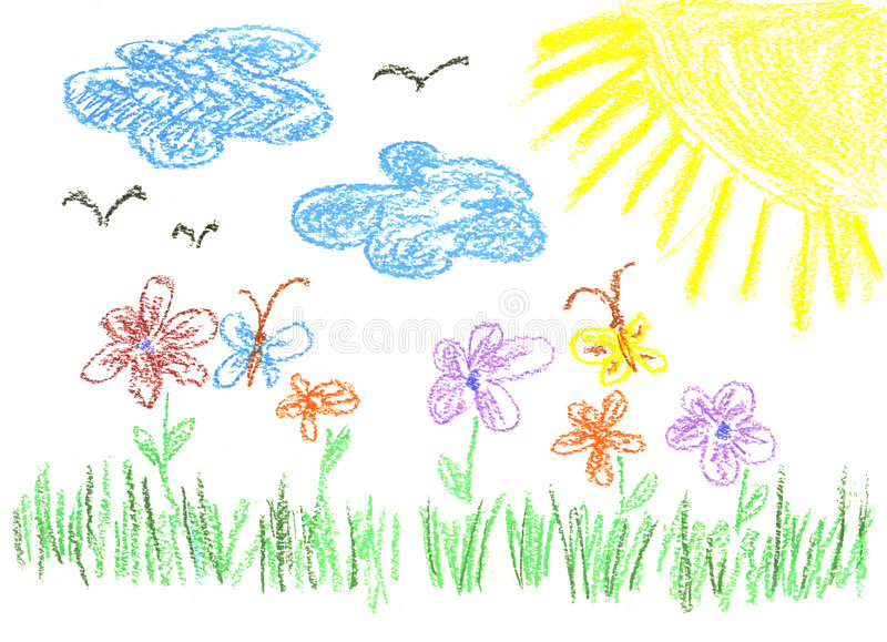 Child's bright drawing stock images