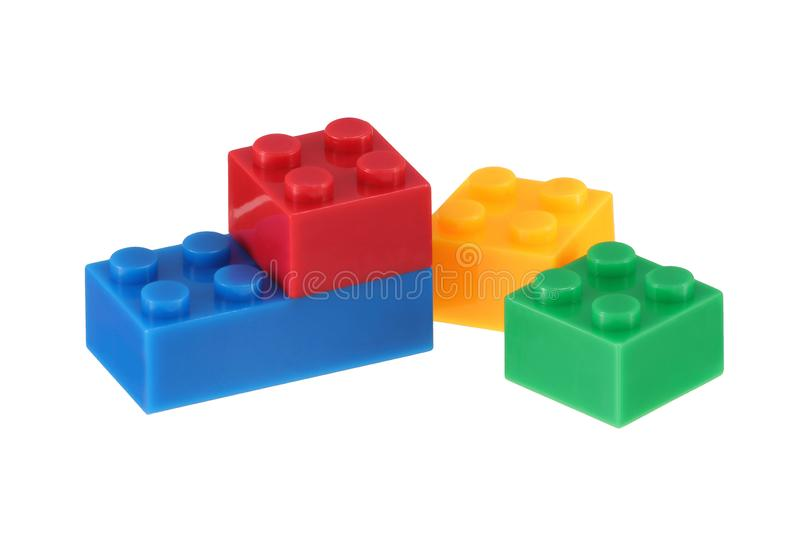 Child`s building bricks isolated on a white background with clipping path stock image