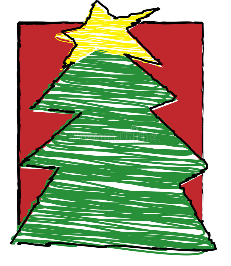 Child's christmas - Christmas tree royalty free illustration