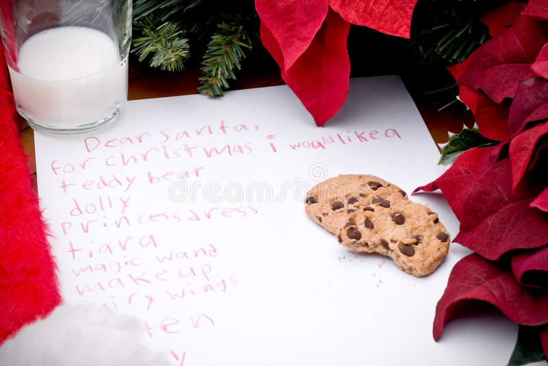 Child's christmas wish list stock photos