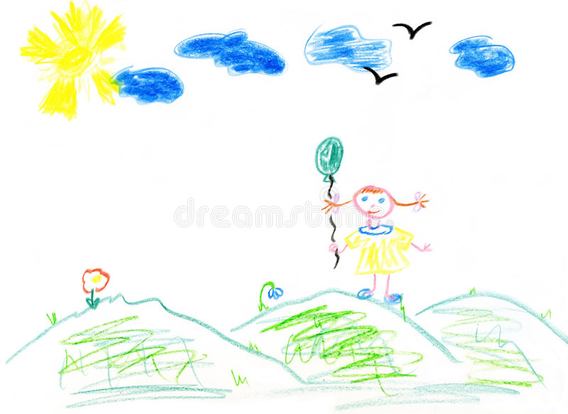 Download Child's Crayon Drawing stock illustration. Image of crayon - 5945423