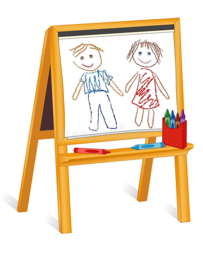 Child s Crayon Drawings on Wooden Easel