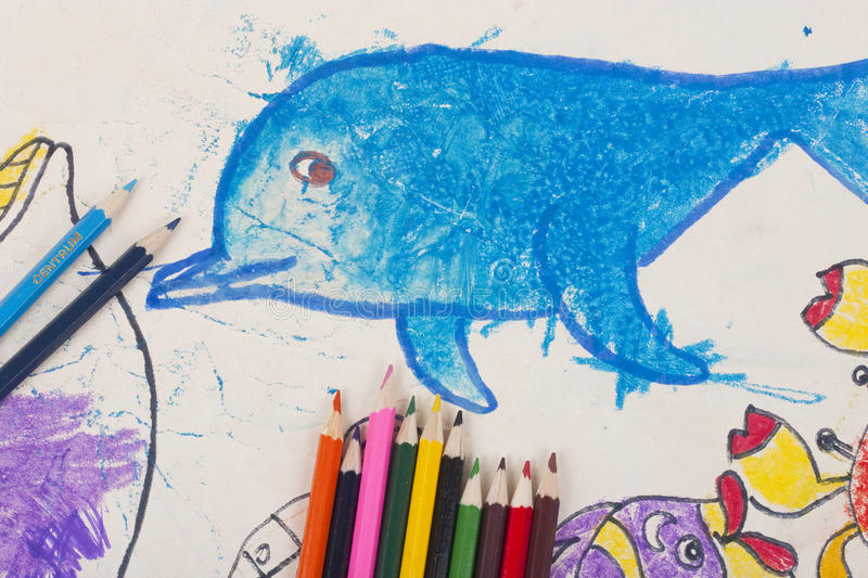 Child's drawing royalty free illustration