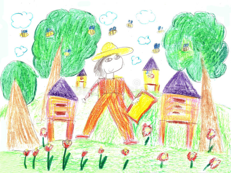 Child`s drawing beekeeper in a field holding honeycomb frame vector illustration