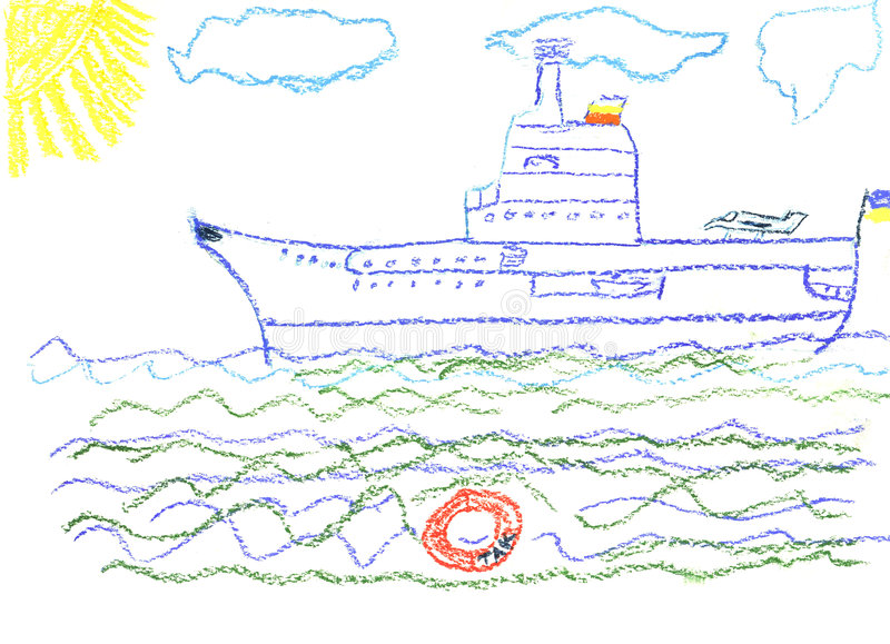 Child's drawing with big battleship royalty free stock image