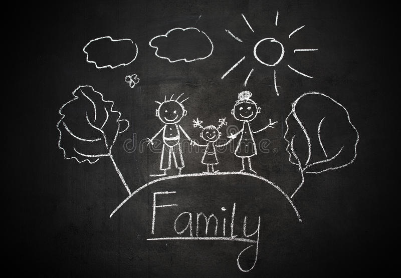 Child's drawing with chalk on school blackboard happy family royalty free stock images