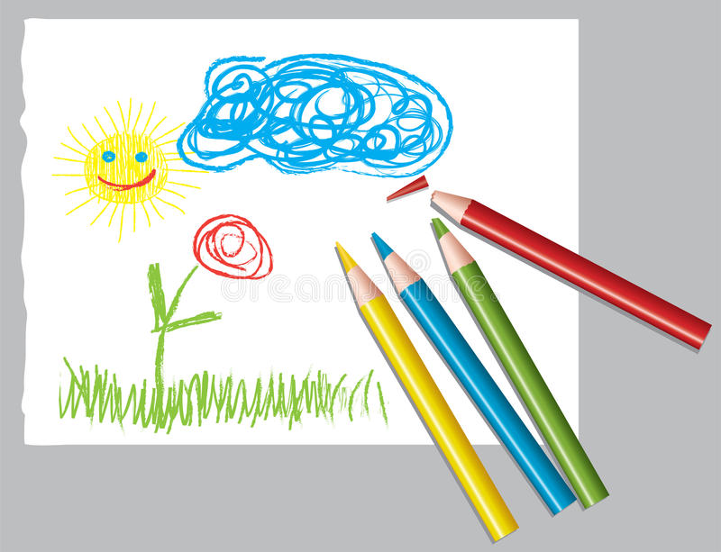 Child's drawing and colored pencils royalty free illustration