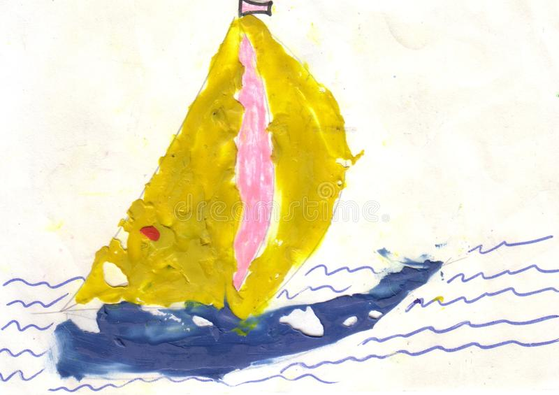 Children drawing colorful sailboat. On white background, paint water surface vector illustration