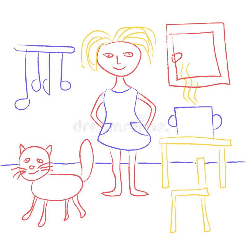 Child`s drawing with crayons. Cute kids doodle depicting a girl and a cat in the kitchen. Girl or woman cooking food. Multicolore royalty free illustration