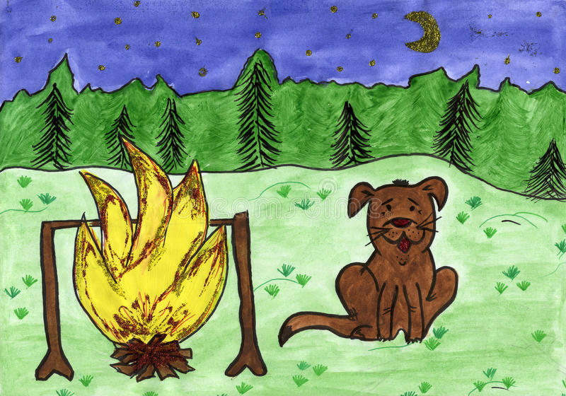 Download Child's Drawing Of Dog And Bonfire. Stock Illustration - Illustration of moon, childhood: 14069668