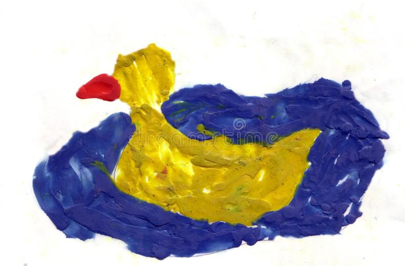 Children picture yellow duck. On the surface of the blue water royalty free illustration