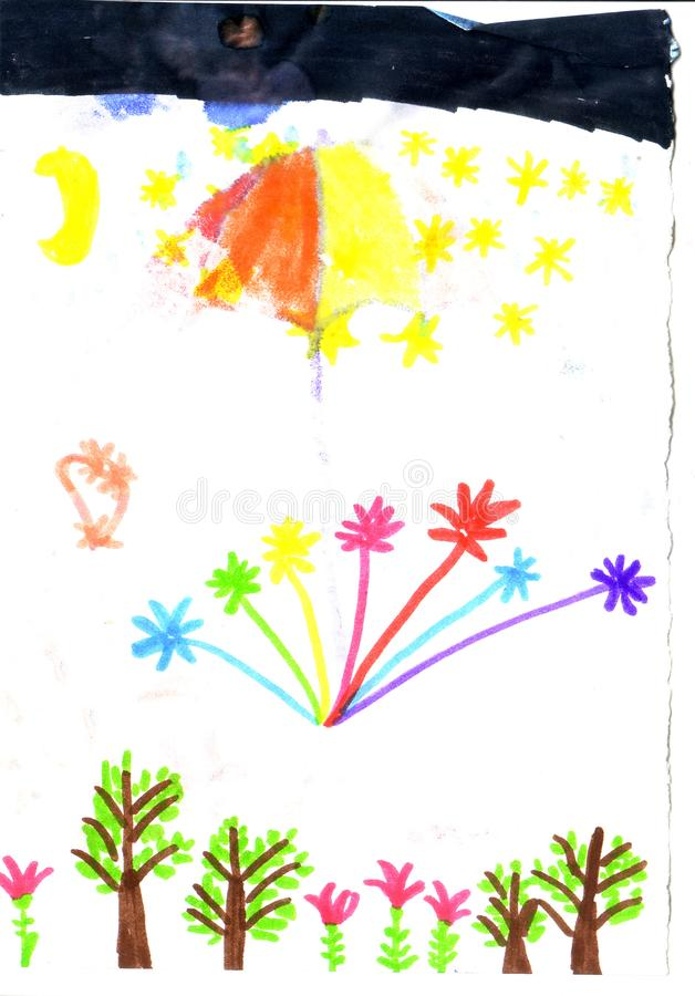 Child`s drawing fireworks over the forest stock illustration