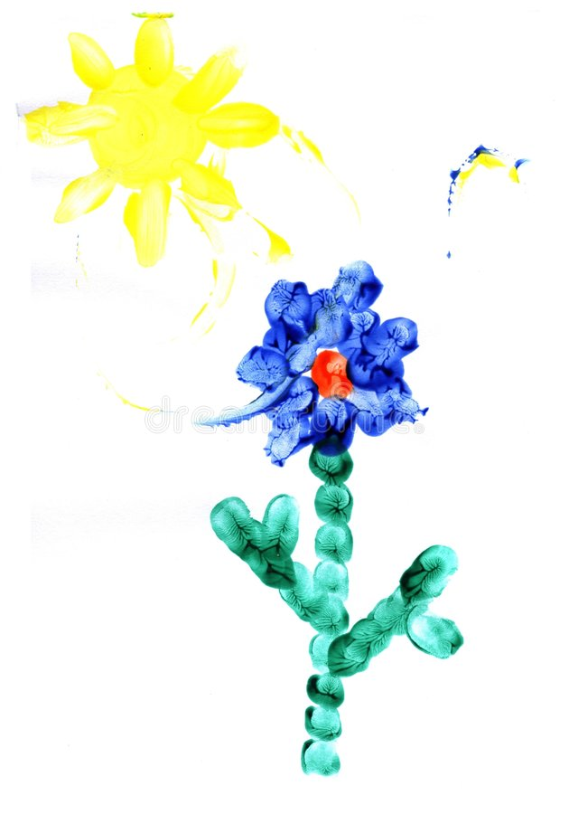 Child's drawing flower royalty free stock photography