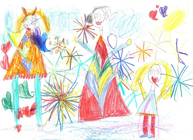 Child drawing happy family watching fireworks stock images