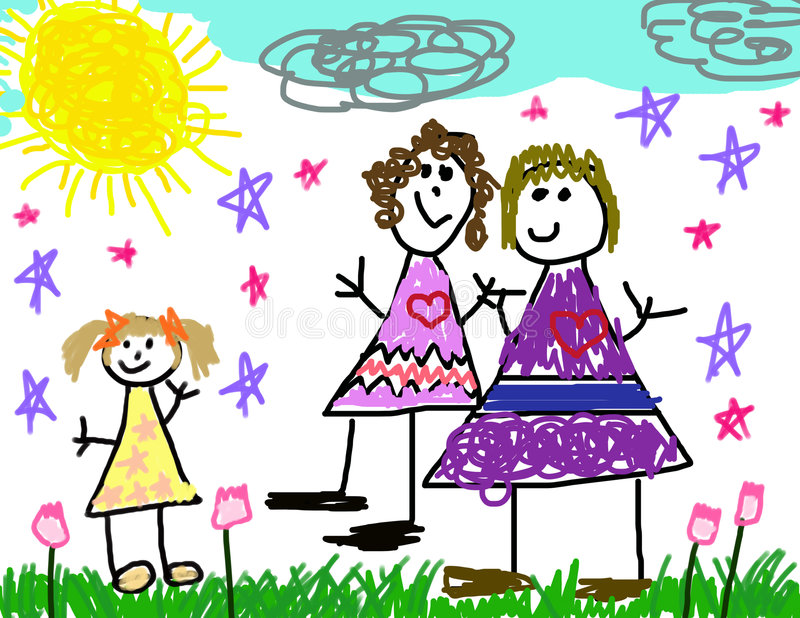 Child's Drawing of Her Family vector illustration