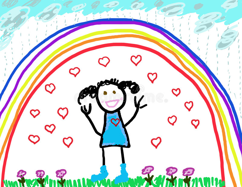 Download Child's Drawing Of Herself Protected & Happy Stock Illustration - Image: 8738281