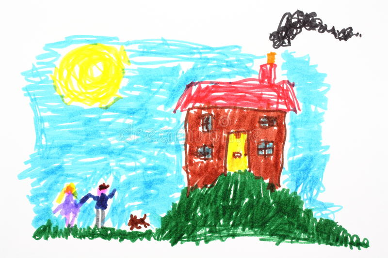 Child's Drawing of a House stock illustration