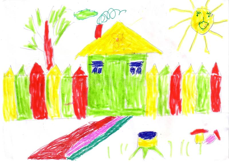Children drawing house and sun. With a fence, white background, funny sun in the sky stock illustration
