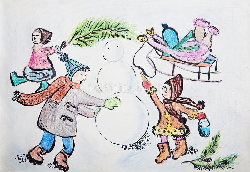 Child`s drawing of a kids with snowman in snowy weather. royalty free illustration