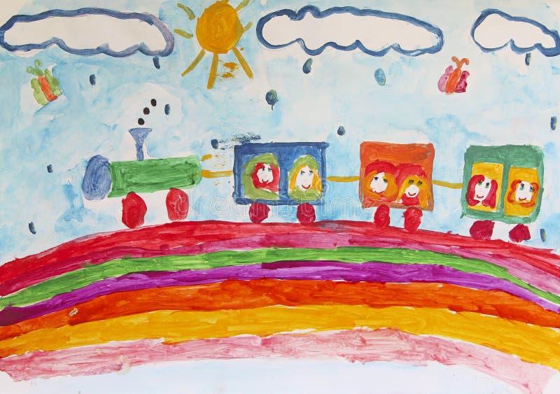 Child`s drawing of merry train traveling along rainbow in rain. Children`s art vector illustration