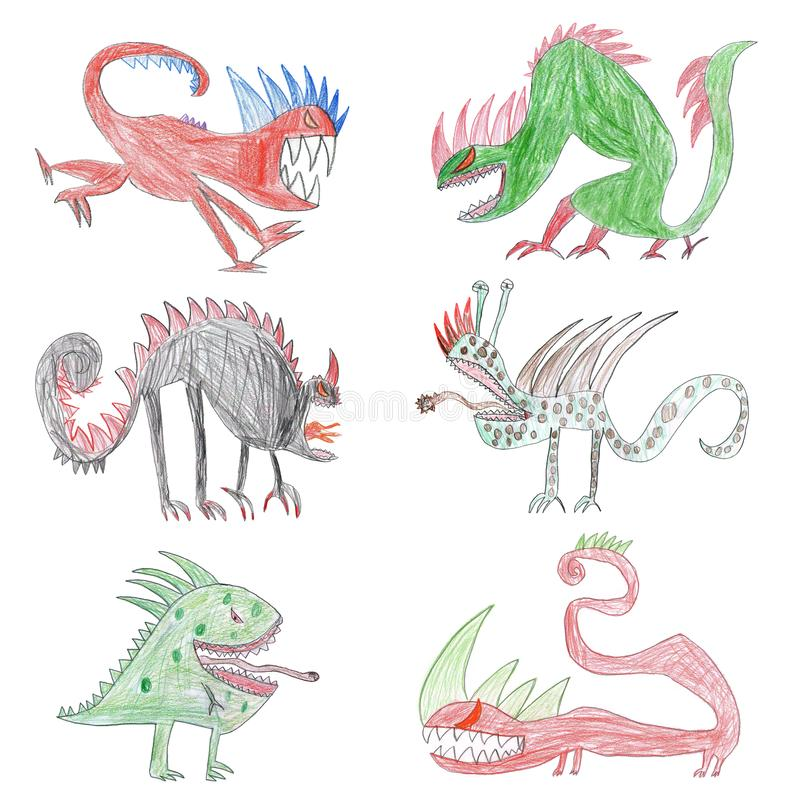 Child`s drawing with monsters. Concept of children creativity stock photos