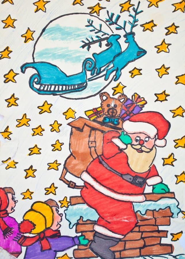 Download Child's Drawing Of Santa Claus Holding Gift Bag Stock Illustration - Illustration of childhood, education: 23628348