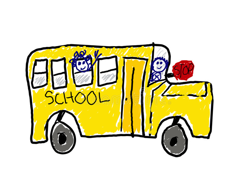 Download Child's Drawing Of School Bus Stock Photos - Image: 6080563