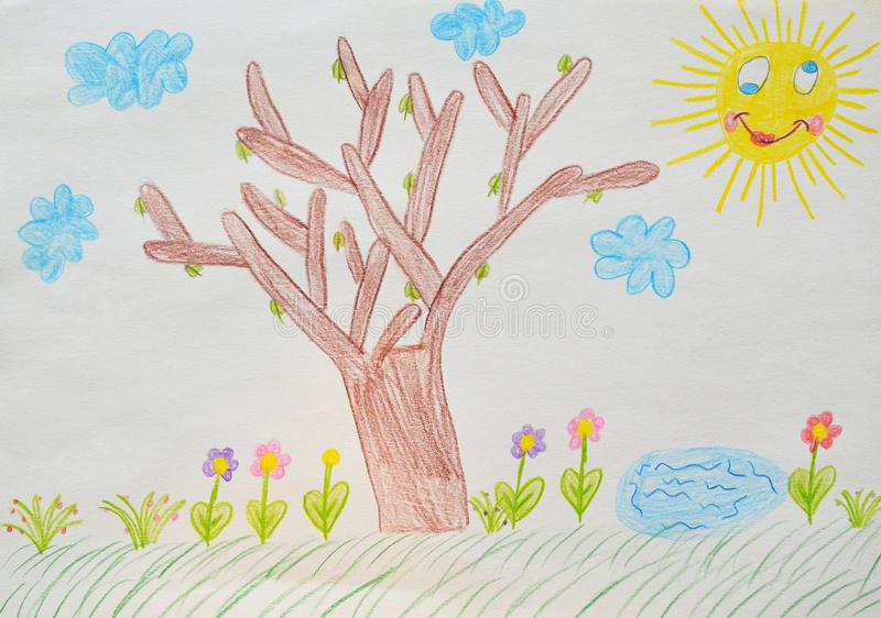 Child`s drawing, garden stock photography