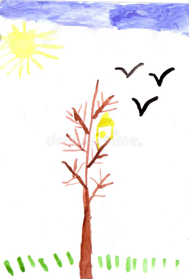Children drawing tree and sun. Watercolor picture, white background royalty free illustration