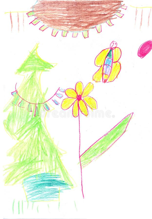 Children drawing yellow flowers. And sun in the sky, color pencil picture, white background vector illustration