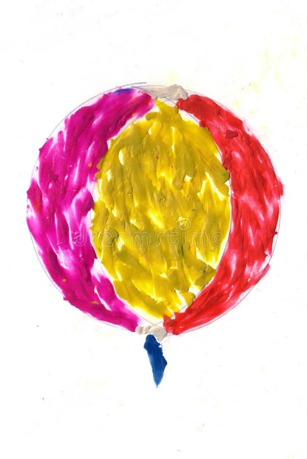 Children picture watercolor ballon. On white background, holiday vector illustration