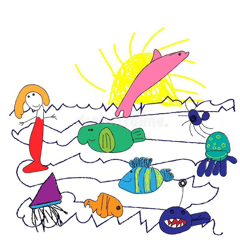 Child`s drawings, doodle style, cute fish set, crayon, colorful pastel chalk, pencil, like kids hand drawn the sun and the sea ful royalty free illustration