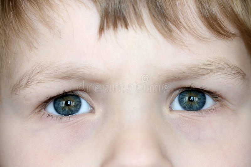 Child's Eyes. A closeup of a young child's eyes as they are looking up stock image