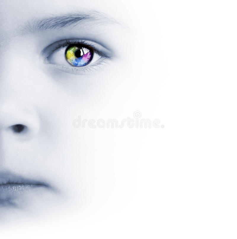 Download Child's Face, Colorful Eye And Map Stock Photo - Image: 20287236