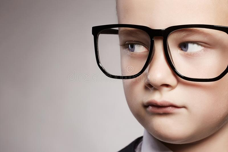 Child`s face.little boy in glasses royalty free stock photo